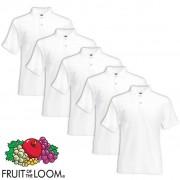 Fruit of the Loom 5 pz Maglietta Polo originale uomo bianca XXL