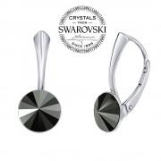 Silvego SILVEGO stříbrné náušnice se Swarovski(R) Crystals rivoli hematit 8mm - VSW039E-H