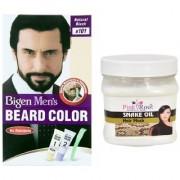 Pink Root Hair Snake Oil Mask With Bigen Men's Beard Color B101 Natural Black