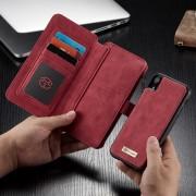 CASEME 007 Series Detachable 2-in-1 Zipper Wallet Split Leather Shell Case for iPhone XR 6.1 inch - Red