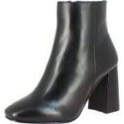 Saint G Black Leather Ankle Womens Boots, Block Heel Boots, Party Wear Boots, Womens Heels Boots For Women(Black)