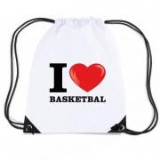 Bellatio Decorations Nylon I love basketbal rugzak wit met rijgkoord