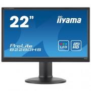 Monitor iiyama B2280HS-B1DP, 22'', LCD, 2ms, 250cd/m2, FullHD, matný, VGA, DP, DVI, repro, pivot, výšk.nast., čierny