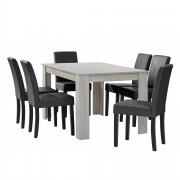 [en.casa] Mesa de comedor diseño - blanco - Set de sillas con estilo elegante - gris oscuro - 140cm x 90cm x 77cm