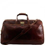 TUSCANY LEATHER Grand Sac de Voyage Cuir Roulettes Marron - Tuscany Leather -