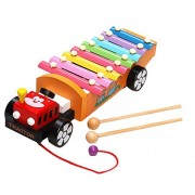 Shoppertize Wooden Xylophone, Drag Tractor Vehicle Toy, Knocking Piano Musical Instrument For Kids Toddlers