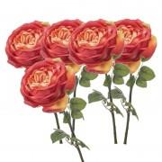 Geen 5x Oranje rozen kunstbloemen 66 cm