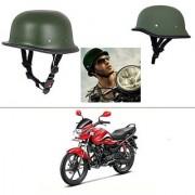 AutoStark German Style Half Helmet (Green) for Hero Passion