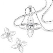 Vighnaharta White Lily Flower Solitaire CZ Rhodium Plated Alloy Pendant set for Women and Girls -[VFJ6004PSET]