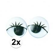 Rayher hobby materialen Plastic wiebel ogen met wimpers 6x