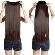 Osking Straight Full Head Synthetic Fiber Clip In Hair Extensions 5 Clips Based 24 Inch - For Women And Girls - Feel Like Real Hairs - Premium Quality (Dark Brown)