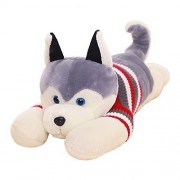 WuKong 50.7inch Large Plush Animal Toys Stuffed Husky Toy with Clothes Puppy Dog Valentines Dog