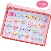 PinkSheep Little Girl Jewel Rings in Box, Adjustable, No Duplication, Girl Pretend Play and Dress up Rings (24 Surface Ring)