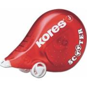 Dispenser cu Banda Corectoare KORES 8m x 4.2 mm Corp de Plastic Rosu
