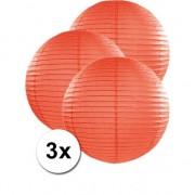 Geen Oranje lampionnen van papier 50 cm 3x