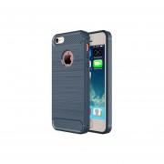 Para Iphone 5s Y 5 De Cepillado Y Textura Fibra Tpu Resistente Armadura Protectora Caso (azul Oscuro)