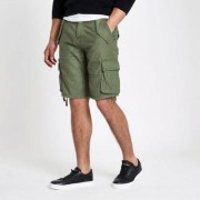 River Island Mens Khaki green slim fit cargo shorts (Size 32)