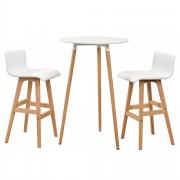 [en.casa]® Комплект от бар маса с 2 бар стола ,70 x 107cm, Бял