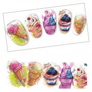 1 Vellen Zoete Dessert Nail Art Decoraties Water Sticker Ijs crème Taart DIY Volledige Cover Nails Decals Nail Art Manicure CHSTZ478 Full Beauty
