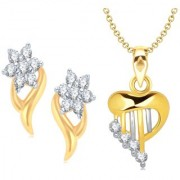 VK Jewels Gold and Rhodium Plated Alloy Earrings & Pendant Combo Set for Women & Girls made with Cubic Zirconia - COMBO1505G [VKCOMBO1505G]