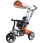Tricicleta Super Trike 4 in 1 cu bara de protectie,control parental, centura de siguranta - Sun Baby - Orange