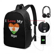 """Neheshihonkio Mochila escolar con diseño de bandera de corazón con texto en inglés """"I Love My Niger"""", Negro, Una talla"""