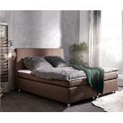 DELIFE Boxspring-bed Paradizo 180x200 cm bruine topper en matras vlakgeweven