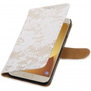 Lace bookstyle / book case/ wallet case Hoes voor Samsung Galaxy J5 (2017) J530F Wit
