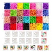 Loom Kit, Rubber Bands Refills Set for Kids Bracelet Loom Craft, 10000pcs in 28 Different Colors, 10 Packs S clips, 4 Packs Colorful Beads, 1 Pack Alphabet Beads, 4 Packs Loom Charms by Rubber Bands Loom
