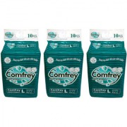 COMFREY ADULT DIAPER LARGE ( 10 Pcs. PACK ) SET OF 3 PACKS FOR WAIST SIZE 40-55 INCHES ( TOTAL 30 Pcs.)