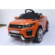 BAYBEE Range Rover Battery Operated Car with Dual Battery, Dual Motor and Pull along Trolley (Orange)