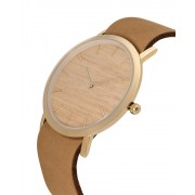 Analog Watch Classic Silverheart Wood Dial & Tan Strap Watch GT-CS