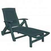 vidaXL vidaXL Șezlong cu suport pentru picioare, plastic, verde