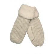 Emi Ross dámské pletené palčáky s kožíškem smetanová