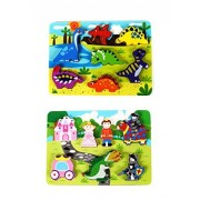 Fun Wooden Chunky Puzzle Pack of 2 - Dinosaurs & Princess Castle - for Toddlers