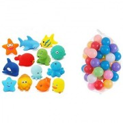Kuhu Creations Entertaining Colorful Bath Toys. (5 Squeezing Animals 12 Balls. Multicolor Animals Balls)