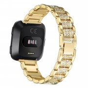 Rhinestone Decor Metal Watch Strap Band for Fitbit Versa - Gold