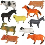 Farm Animal Toys for Kids (Pack of 10). Realistic Looking Farm Animal Toys | Animal Action Figures Playset | Learning Animals | Gift for Boy | Gift for Girl | Birthday Gift | Decoration | Party Favors