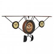 Стенен часовник [en.casa]® Стар самолет -с аналогови стрелки - 78 x 5 x 32 см. - цветен - стъкло