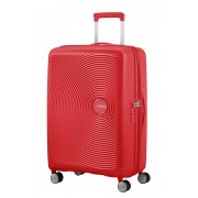 American Tourister Soundbox 67cm 4-Wheel Spinner Expandable Suitcase - Coral Red