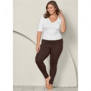 Plus Size Basic Leggings Pants - Brown