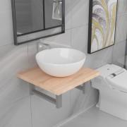 vidaXL Комплект мебели за баня от две части, керамика, дъб