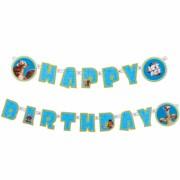GHIRLANDA HAPPY BIRTHDAY, CARTON PRINTAT PE O SINGURA FATA, SFOARA DIN BUMBAC, 2M, ICE AGE