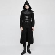 Punk Rave Knowledge Hooded Zipper Long Coat Black Y-816