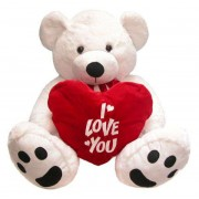 Big 3 Feet White Teddy Bear holding I Love You Heart