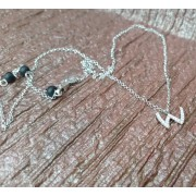 925 Sterling Silver Letter 'W' Pendant with CZs and rolo style Necklace