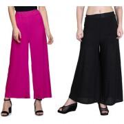 Jakqo Women's Bottom Wear Synthetic Palazzo (Free Size Pack of 2 Hot Pink Black)