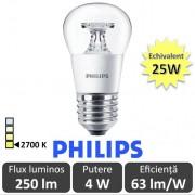 Bec LED Philips - LEDluster 4W P45 CL 230V E27 alb-cald