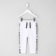 River Island Baby Boys White tape tracksuit bottoms - Size 12 - 18 Mth