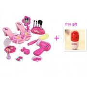 Miss.AJ Stylish Girls Deluxe Beauty Salon Fashion Play Set with Hairdryer, Curling Iron, Mirror & Styling Accessories high-heeled shoes